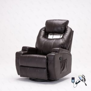 SUNCOO Massage Recliner Bonded Leather Chair Ergonomic Lounge Heated Sofa